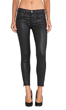 Current/Elliott The Soho Zip Stiletto Skinny in Black Coated