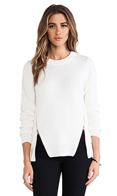Cut25 by Yigal Azrouel Crewneck Side Zipper Sweater in Parchment/Off-White