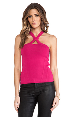 Cut25 by Yigal Azrouel Racerneck Knit Top in Cerise