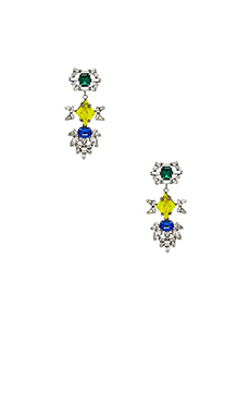 DANNIJO Dorothy Earrings in Silver & Crystal & Yellow