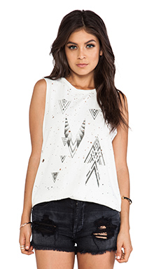 DAYDREAMER Geometrics Thrashed Muscle Tee in Cream