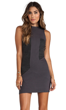 dolan Sleeveless Seamed Ponte Dress in Asphalt