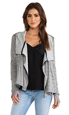dolan Hooded Draped Cardigan in Grey