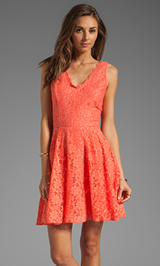 DV by Dolce Vita Thereza Neon Lace Mini Dress in Melon
