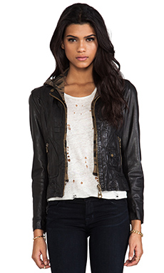 DOMA Washed Lamb Leather Jacket with Detachable Hood in Black & Camo