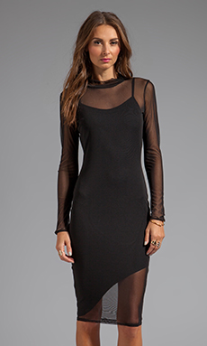 Donna Mizani Mid Length Mesh Dress in Black