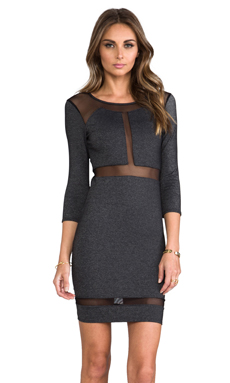 Donna Mizani Paneled Mesh Insert Dress in Heather Slate