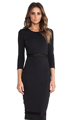 Donna Mizani Lace Inset Midi Dress in Caviar