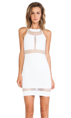 Donna Mizani Paneled Halter Dress in White