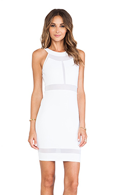 Donna Mizani Paneled Halter Mini Dress in White