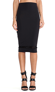 Donna Mizani Mid Length Skirt in Caviar