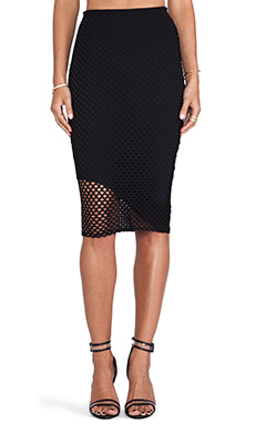Donna Mizani Asymmetrical Midi Skirt in Caviar