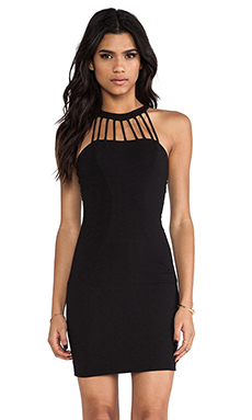 DRESS THE POPULATION Erin Mini Dress in Black