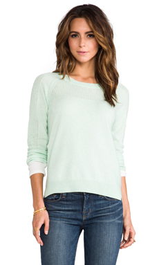 DUFFY Cashmere Pullover in Water Ice/White
