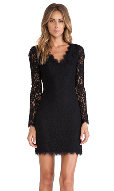 Diane von Furstenberg Dakota Lace Dress in Black