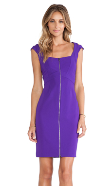 Diane von Furstenberg Corinne Zipper Front Dress in Acid Grape