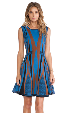 Diane von Furstenberg Gabby Fit & Flare Dress in Black & Blue Glass & Copper