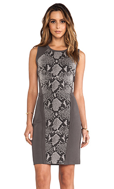 Diane von Furstenberg Franca Dress in Light Grey Combo