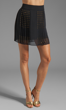 Diane von Furstenberg Arielle Hot Fix Check Skirt in Black