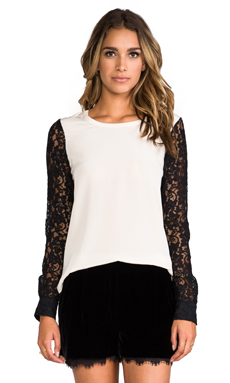 Diane von Furstenberg Louisa Lace Sleeve Top in Sesame/Black