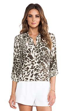 Diane von Furstenberg Lorelei Two Print Top in Feather Leopard