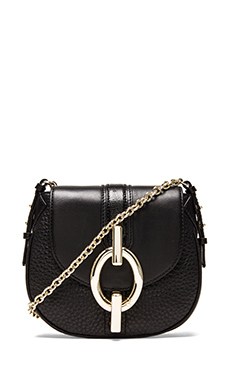 Diane von Furstenberg Sutra Mini Mixed Leather Crossbody in Black