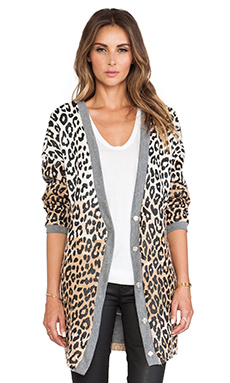 Elizabeth and James Printed Boyfriend Cardigan in Caramel Ivory Black
