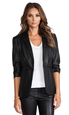 Elizabeth and James Leather James Blazer in Black