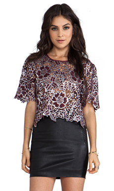 Elizabeth and James Winter Lace Bates Top in Bordeaux