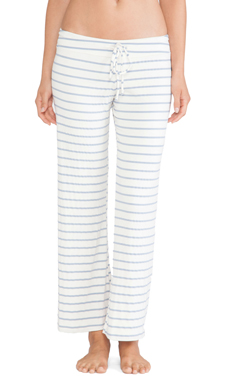 eberjey Lounge Stripe Wide Leg Pant in Blue Shadow