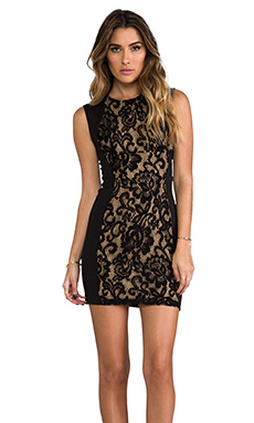 Eight Sixty Lace Tank Dress in Black & Nude