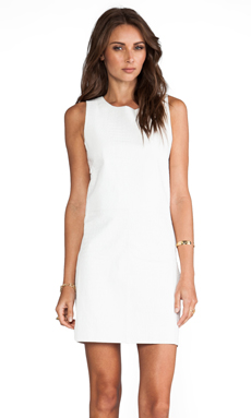 Elliott Label Boss Leather Dress in White