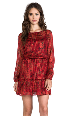 Ella Moss Lynx Long Sleeve Dress in Crimson