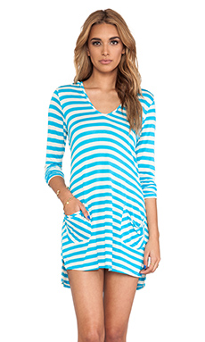 Ella Moss Cabana Stripe Hooded Cover Up in Blue