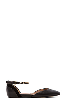 Ella Moss Savana Ankle Strap Flats in Black