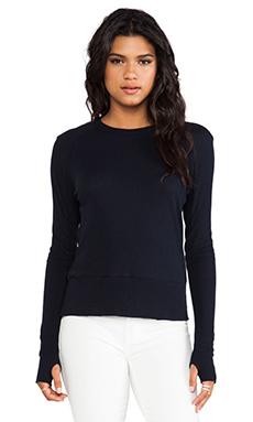 Enza Costa Cashmere Long Sleeve Raglan in Cadet