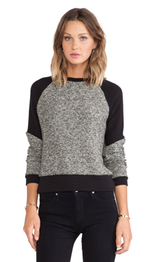 Enza Costa Tweed Panel Sweatshirt