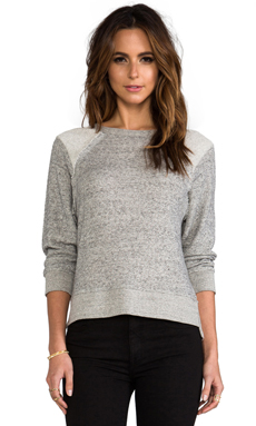 Enza Costa Japanese Terry Raglan in Dark Heather Grey