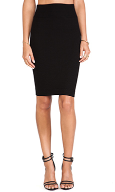 Enza Costa Silk Rib Pencil Skirt in Black