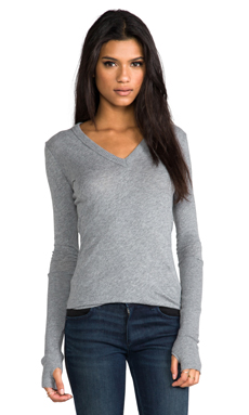 Enza Costa Cashmere Fitted Cuffed V Neck Sweater in Smoke