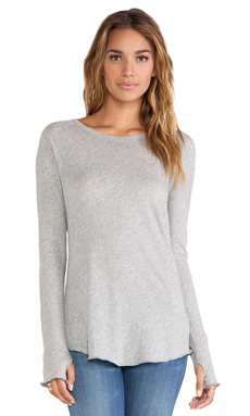 Enza Costa Tissue Jersey Long Sleeve Raglan in Light Heather Grey