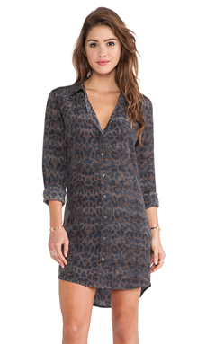 Equipment Brett Mischievous Leopard Printed Dress in Gunmetal