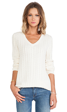 Equipment Whitney Cable Knit V Neck Sweater in Ivory
