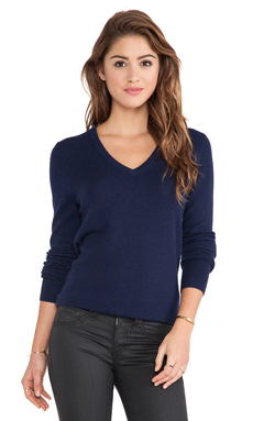 Equipment Cecile V Neck Sweater in Peacoat
