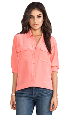 Equipment Signature Vintage Wash Blouse in Coral
