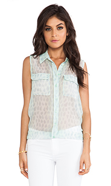 Equipment Sleeveless Peaceful Leopard Slim Signature in Mint Green