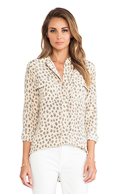 Equipment Slim Signature Blouse in Bleached Sand