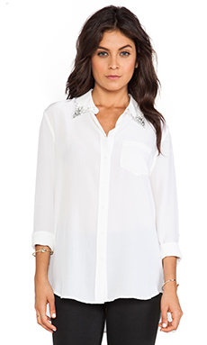 Equipment Reese Jewel Collar Blouse in Bright White