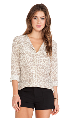 Equipment Lynn Mischievous Leopard Print Blouse in Nature White