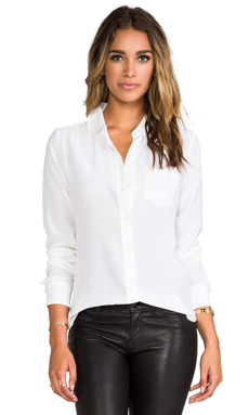 Equipment Brett Vintage Wash Blouse in Bright White